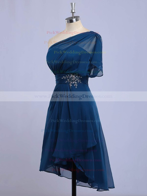 Chiffon One Shoulder Asymmetrical A-line with Beading Bridesmaid Dresses #PWD01013416