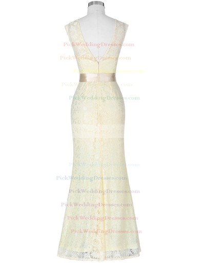 Lace Scoop Neck Floor-length Trumpet/Mermaid with Sashes / Ribbons Bridesmaid Dresses #PWD01013418