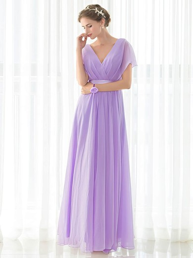 Chiffon V-neck Floor-length Empire with Sashes / Ribbons Bridesmaid Dresses #PWD01013419