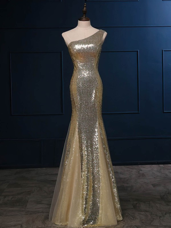 Tulle|Sequined One Shoulder Floor-length Trumpet/Mermaid with Ruffles Bridesmaid Dresses #PWD01013420