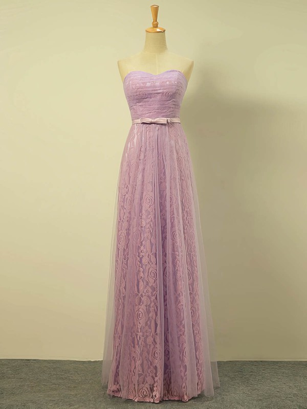 Lace|Tulle Sweetheart Floor-length A-line with Sashes / Ribbons Bridesmaid Dresses #PWD01013422