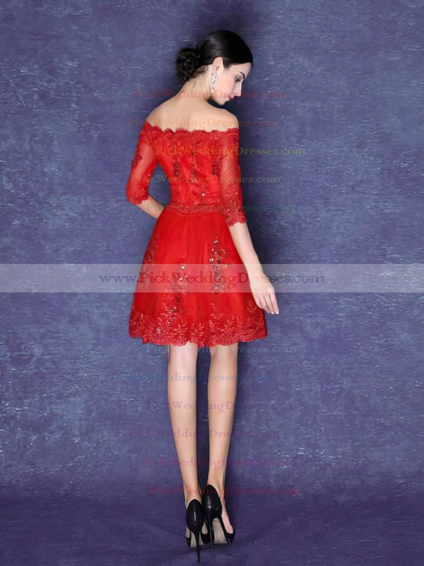 Tulle Off-the-shoulder Short/Mini A-line with Appliques Lace Bridesmaid Dresses #PWD01013423