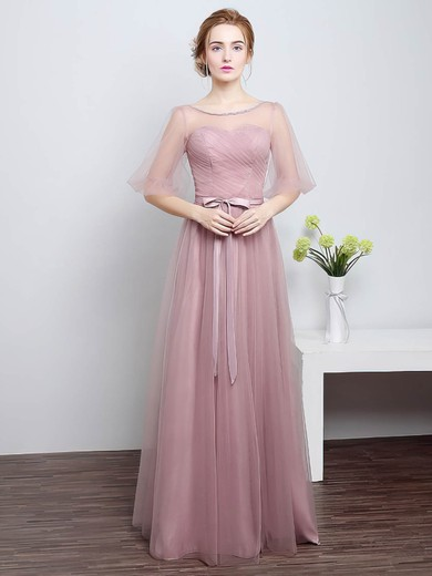 Tulle Scoop Neck Floor-length A-line with Sashes / Ribbons Bridesmaid Dresses #PWD01013430
