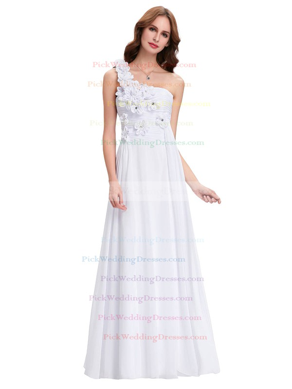 Chiffon One Shoulder Floor-length A-line with Crystal Detailing Bridesmaid Dresses #PWD01013431