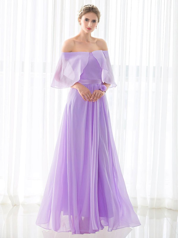 Chiffon Off-the-shoulder Floor-length A-line with Sashes / Ribbons Bridesmaid Dresses #PWD01013433