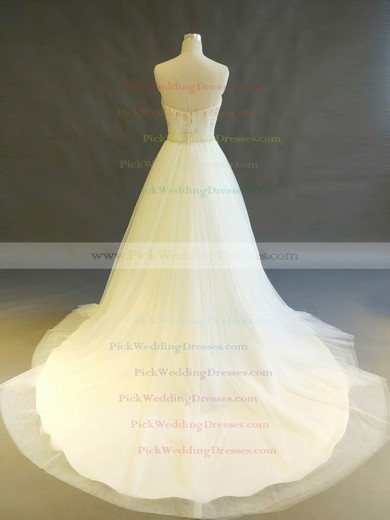 Tulle Sweetheart Chapel Train Ball Gown with Beading Wedding Dresses #PWD00022897