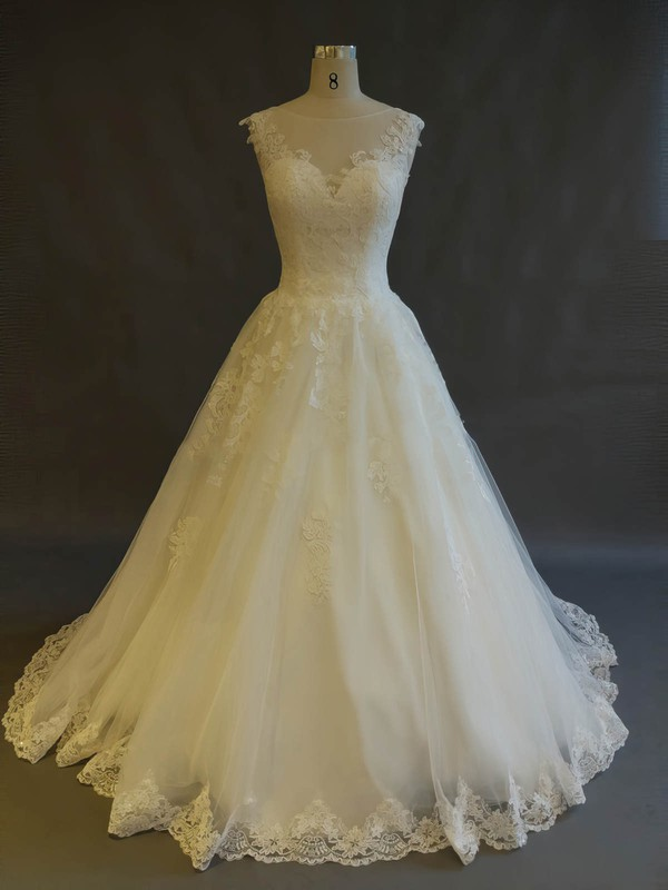 Tulle Scoop Neck Sweep Train Ball Gown with Appliques Lace Wedding Dresses #PWD00022899