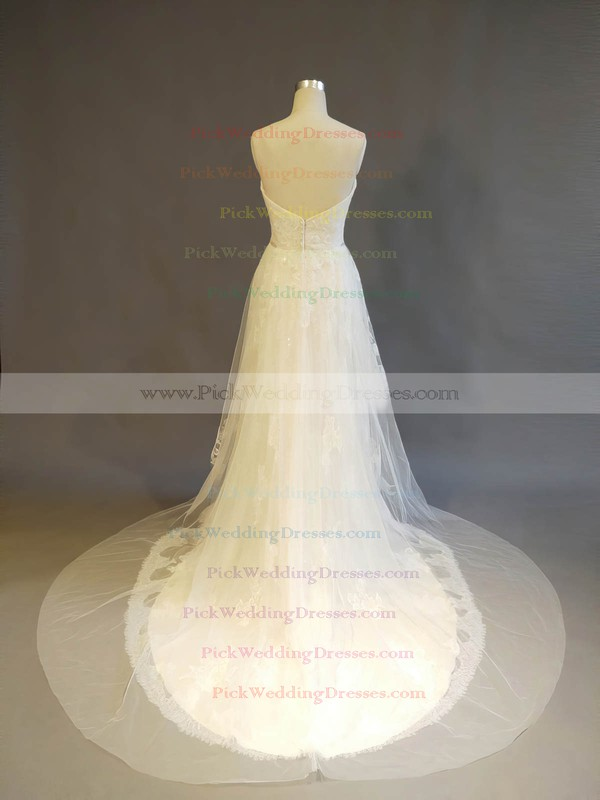 Tulle Lace Sweetheart Court Train A-line with Crystal Detailing Wedding Dresses #PWD00022902