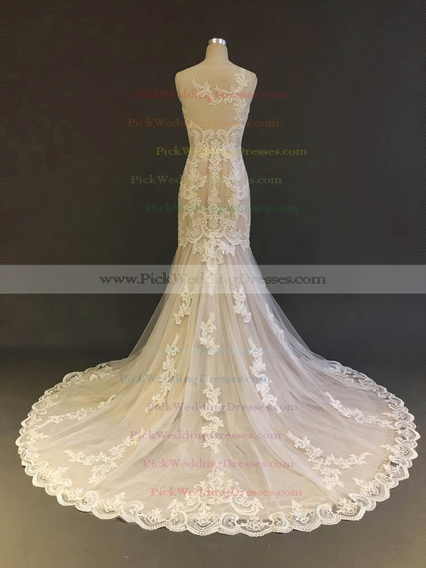 Tulle Scoop Neck Court Train Trumpet/Mermaid with Appliques Lace Wedding Dresses #PWD00022903