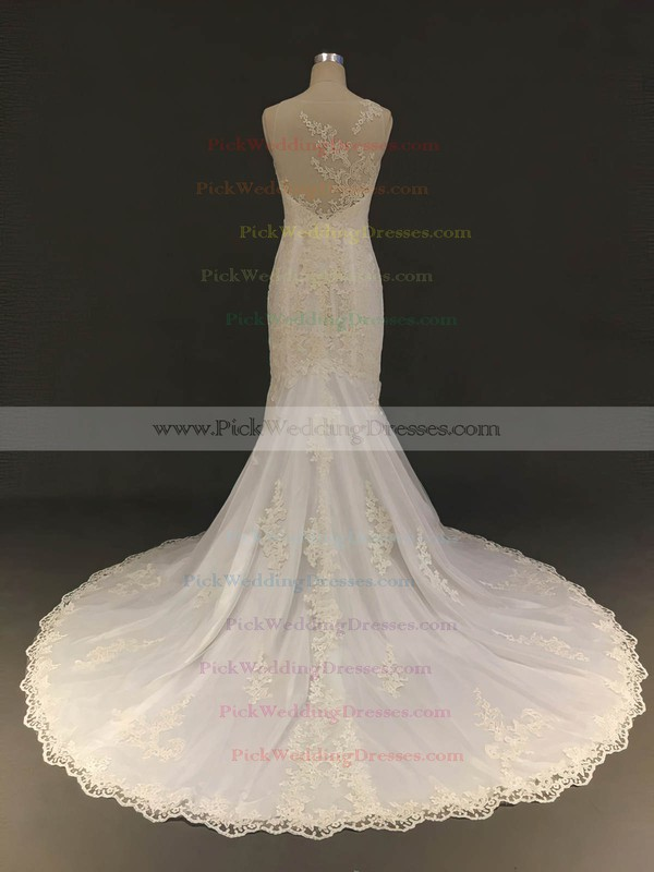 Tulle Scoop Neck Court Train Trumpet/Mermaid with Appliques Lace Wedding Dresses #PWD00022904
