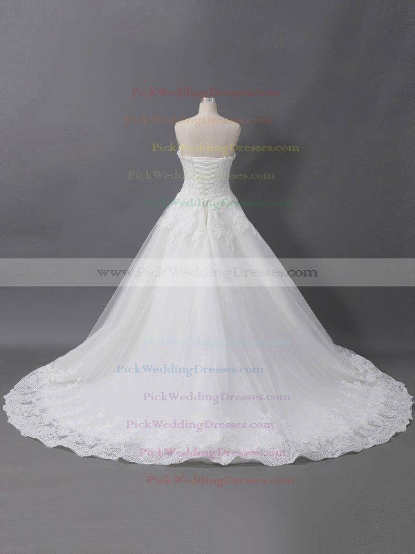 Tulle Sweetheart Court Train Ball Gown with Sequins Wedding Dresses #PWD00022905