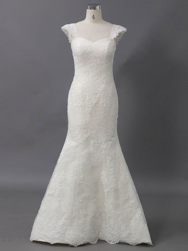 Tulle Sweetheart Sweep Train Trumpet/Mermaid with Appliques Lace Wedding Dresses #PWD00022906