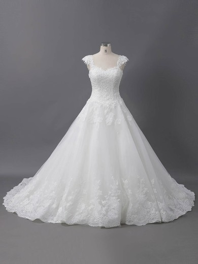 Tulle Sweetheart Sweep Train Ball Gown with Sequins Wedding Dresses #PWD00022907