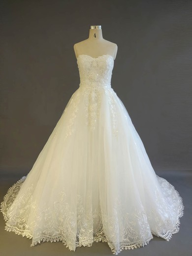 Tulle Sweetheart Court Train Ball Gown with Pearl Detailing Wedding Dresses #PWD00022908