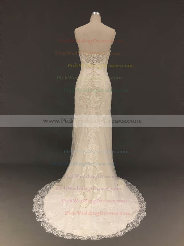 Tulle Sweetheart Sweep Train Trumpet/Mermaid with Appliques Lace Wedding Dresses #PWD00022909