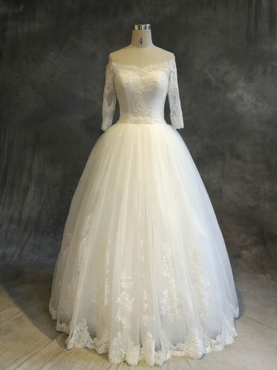 Tulle Off-the-shoulder Floor-length Ball Gown with Sequins Wedding Dresses #PWD00022910