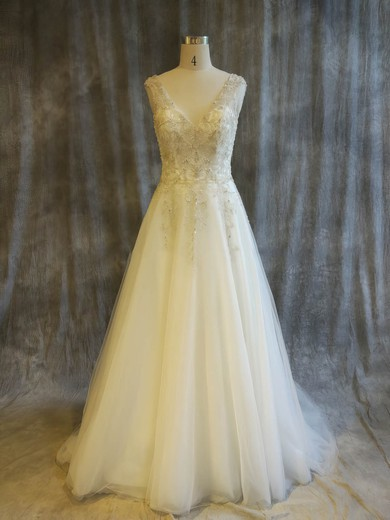 Tulle V-neck Sweep Train Princess with Pearl Detailing Wedding Dresses #PWD00022911