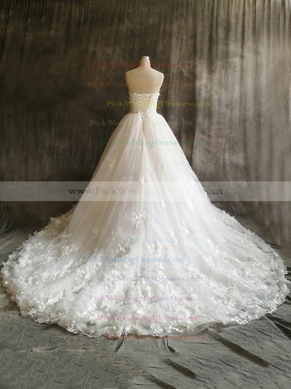 Tulle Sweetheart Court Train Ball Gown with Flower(s) Wedding Dresses #PWD00022912