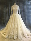 Tulle Scoop Neck Chapel Train Ball Gown with Appliques Lace Wedding Dresses #PWD00022913