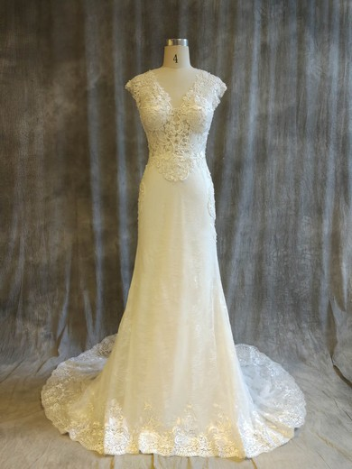 Tulle Lace V-neck Chapel Train Trumpet/Mermaid with Pearl Detailing Wedding Dresses #PWD00022914