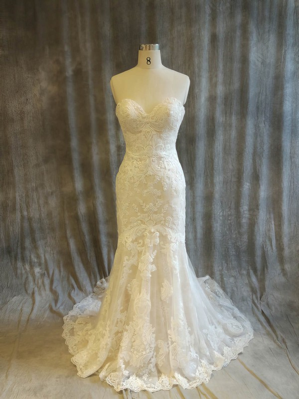 Tulle Sweetheart Sweep Train Trumpet/Mermaid with Appliques Lace Wedding Dresses #PWD00022915