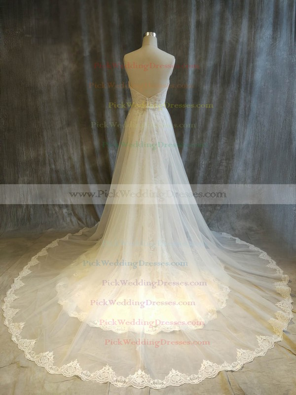 Tulle Lace Sweetheart Chapel Train Ball Gown with Beading Wedding Dresses #PWD00022916