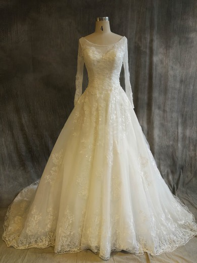 Tulle Scoop Neck Chapel Train Ball Gown with Sequins Wedding Dresses #PWD00022917