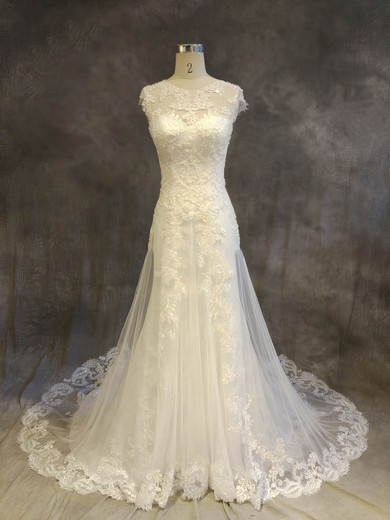 Tulle Scoop Neck Chapel Train A-line with Appliques Lace Wedding Dresses #PWD00022919