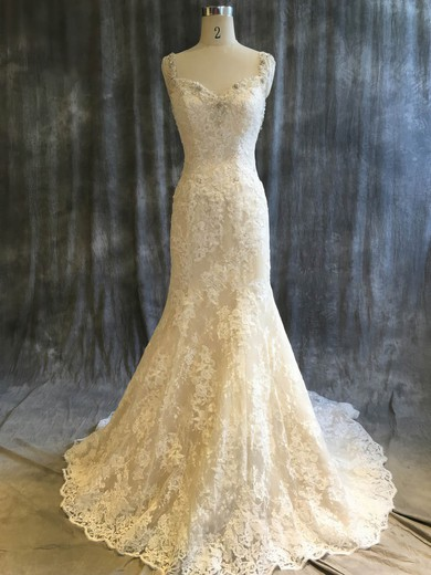 Tulle Lace V-neck Sweep Train Trumpet/Mermaid with Sequins Wedding Dresses #PWD00022920