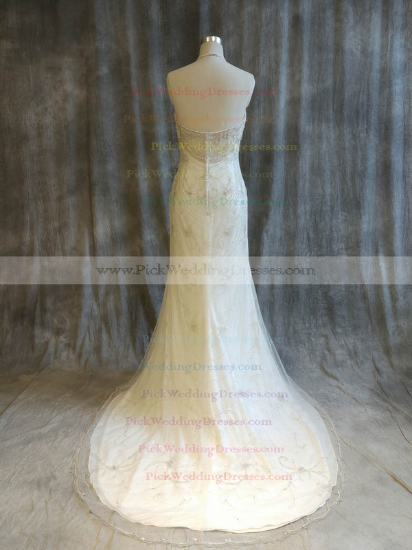 Tulle Halter Sweep Train Trumpet/Mermaid with Pearl Detailing Wedding Dresses #PWD00022921