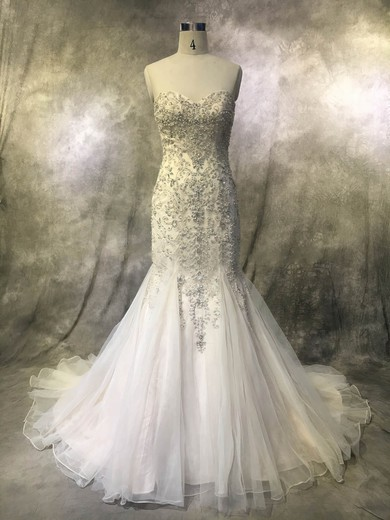 Tulle Sweetheart Court Train Trumpet/Mermaid with Pearl Detailing Wedding Dresses #PWD00022922