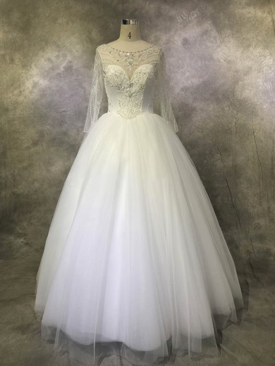 Tulle Scoop Neck Floor-length Ball Gown with Sequins Wedding Dresses #PWD00022923