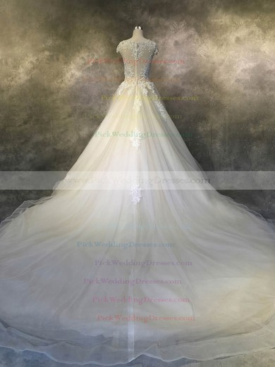 Tulle Scoop Neck Cathedral Train Ball Gown with Appliques Lace Wedding Dresses #PWD00022924