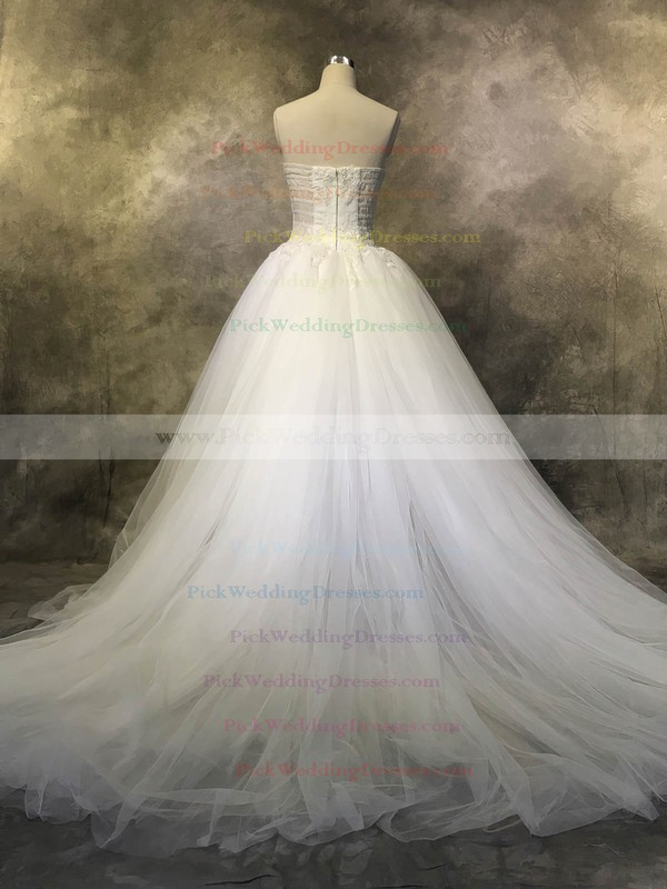 Tulle Strapless Court Train Ball Gown with Appliques Lace Wedding Dresses #PWD00022925