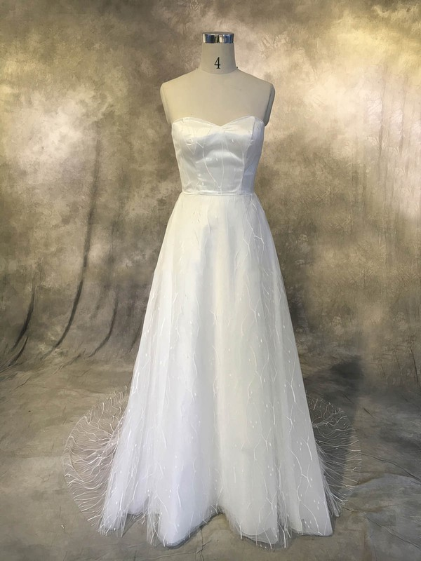 Tulle Sweetheart Sweep Train A-line with Ruffles Wedding Dresses #PWD00022926