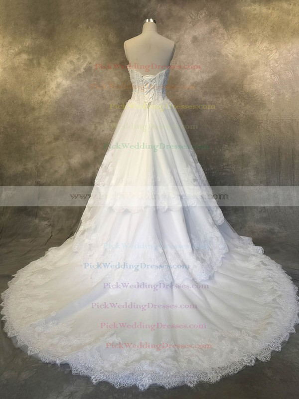 Tulle Sweetheart Court Train A-line with Appliques Lace Wedding Dresses #PWD00022927