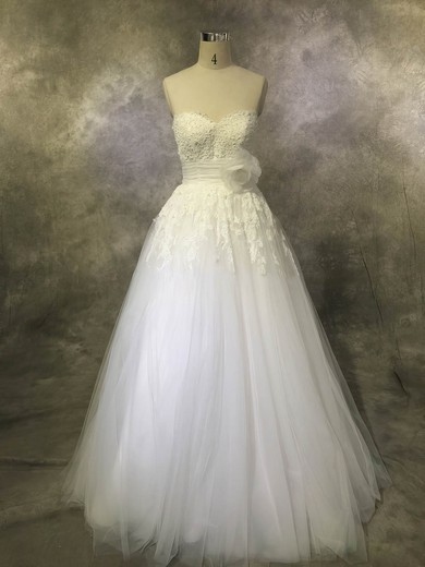 Tulle Sweetheart Floor-length Ball Gown with Sashes / Ribbons Wedding Dresses #PWD00022928