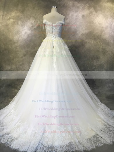 Tulle Off-the-shoulder Court Train Ball Gown with Beadings Wedding Dresses #PWD00022929