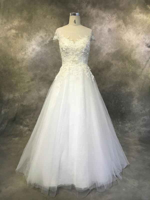 Tulle Scoop Neck Court Train Ball Gown with Appliques Lace Wedding Dresses #PWD00022930