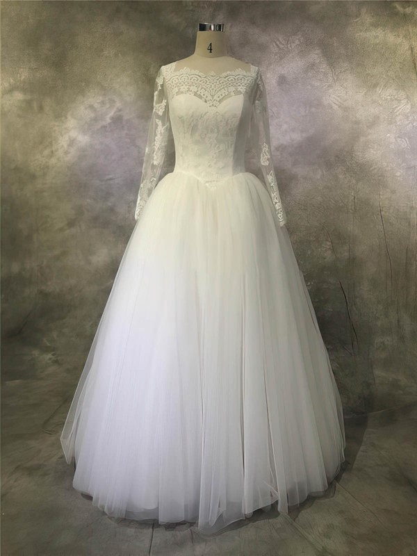 Tulle Scalloped Neck Floor-length Ball Gown with Appliques Lace Wedding Dresses #PWD00022932