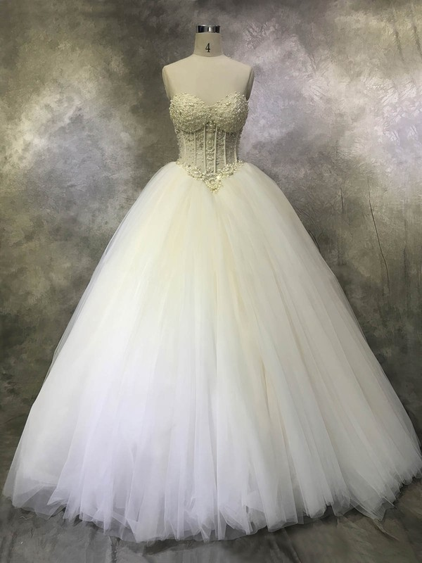 Tulle Sweetheart Floor-length Ball Gown with Crystal Detailing Wedding Dresses #PWD00022933