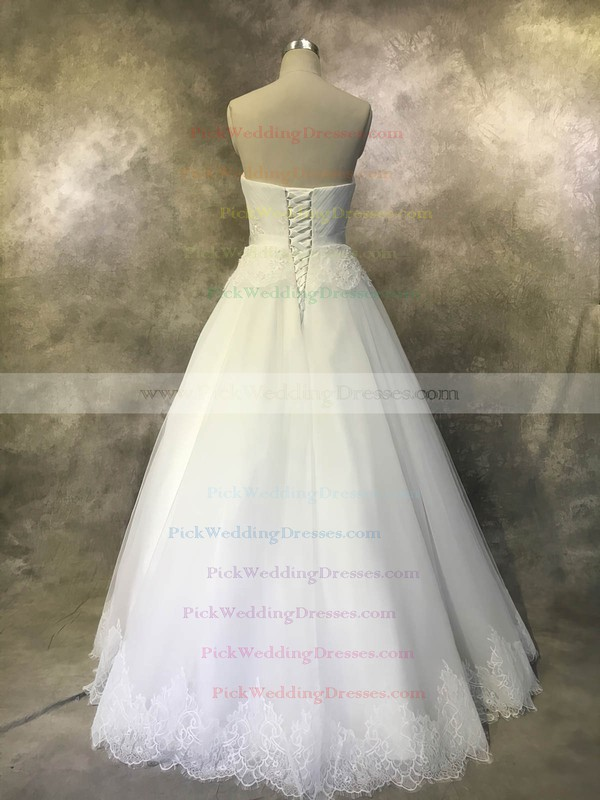 Tulle Sweetheart Floor-length Ball Gown with Sashes / Ribbons Wedding Dresses #PWD00022934