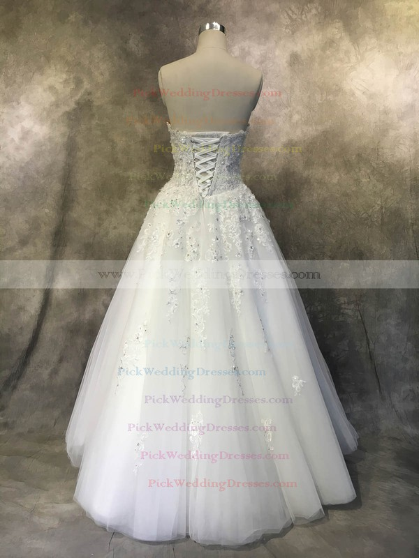 Tulle Sweetheart Floor-length Ball Gown with Appliques Lace Wedding Dresses #PWD00022935
