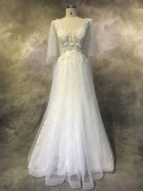 Tulle Lace V-neck Court Train A-line with Appliques Lace Wedding Dresses #PWD00022936