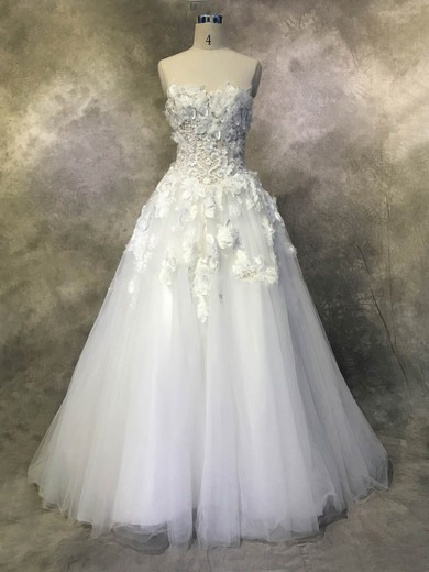 Tulle Strapless Chapel Train Ball Gown with Appliques Lace Wedding Dresses #PWD00022937