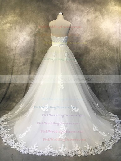 Tulle Sweetheart Court Train Princess with Sashes / Ribbons Wedding Dresses #PWD00022938