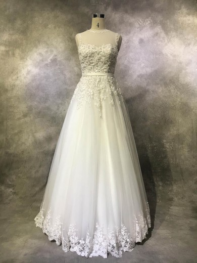 Tulle Scoop Neck Floor-length Princess with Sashes / Ribbons Wedding Dresses #PWD00022939
