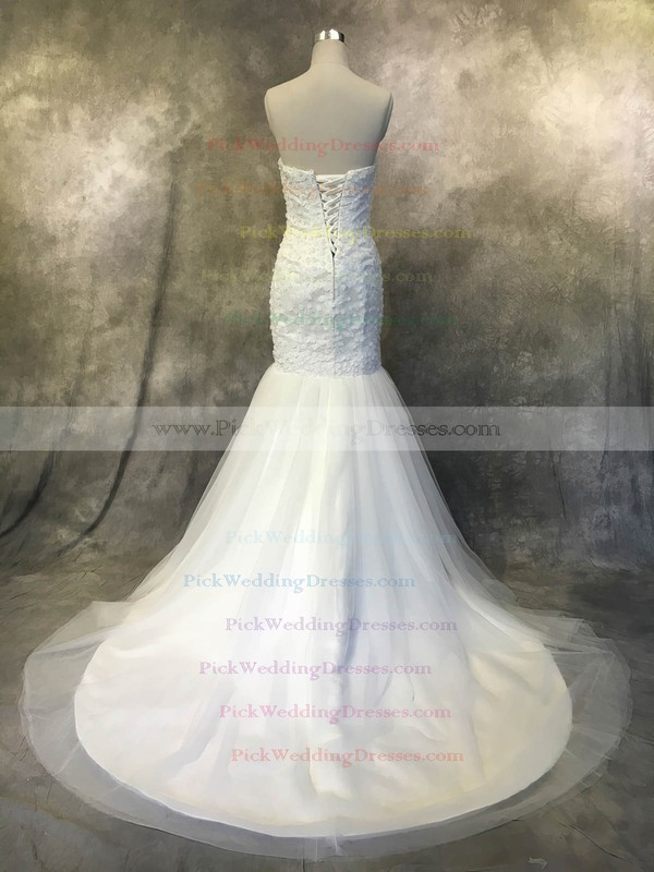 Tulle Strapless Court Train Trumpet/Mermaid with Flower(s) Wedding Dresses #PWD00022940