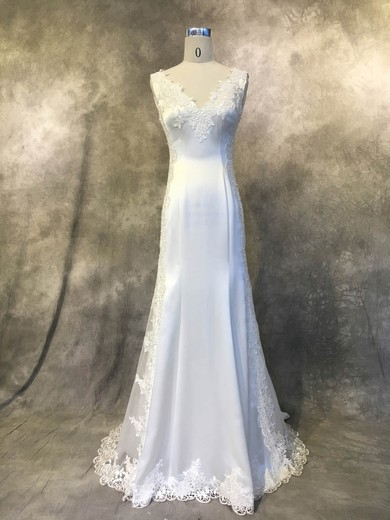 Satin Tulle V-neck Court Train Trumpet/Mermaid with Appliques Lace Wedding Dresses #PWD00022941
