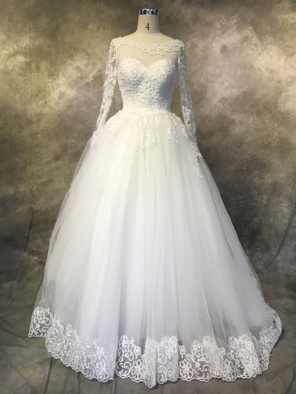 Tulle Scoop Neck Chapel Train Ball Gown with Sequins Wedding Dresses #PWD00022942